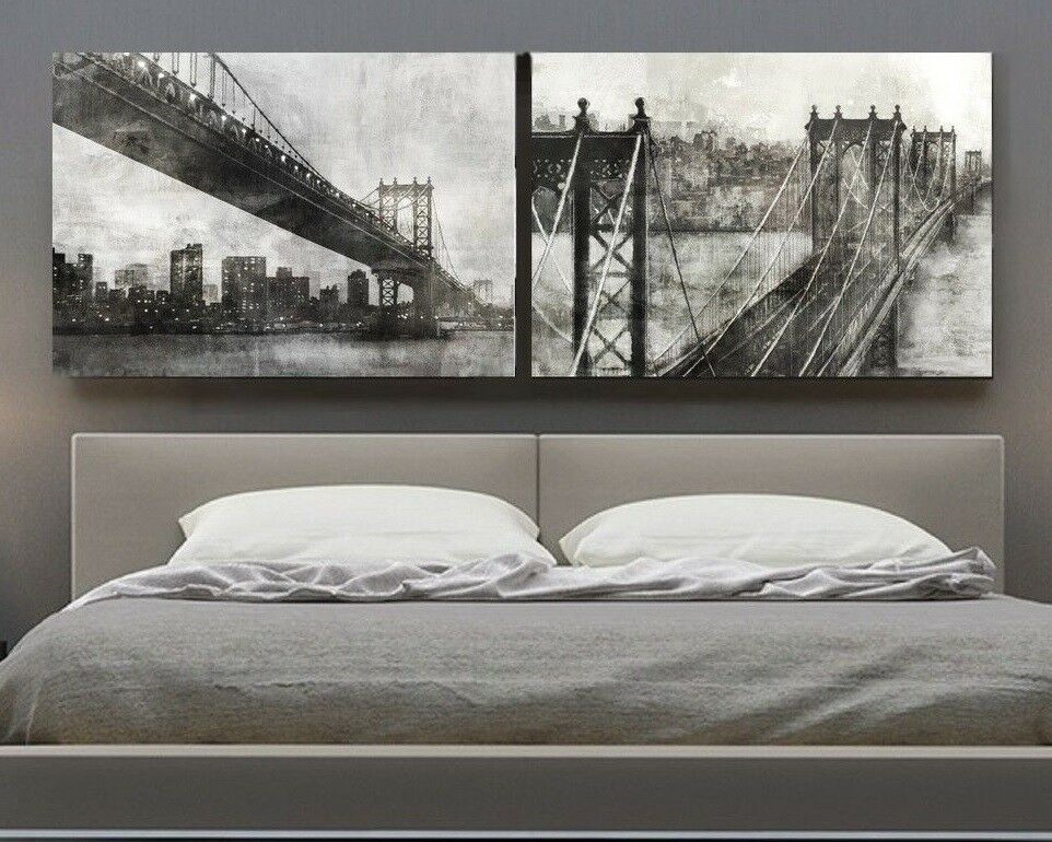 xxxl bild set leinwand canvas 210x70x5 golden gate bridge new york usa ikea neu ebay. Black Bedroom Furniture Sets. Home Design Ideas