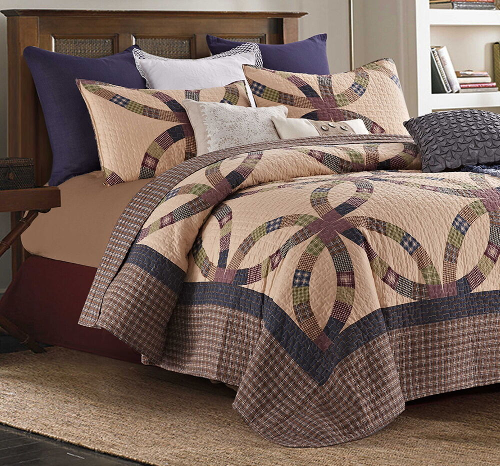 PRIMITIVE WEDDING RING King QUILT SET : COUNTRY CABIN