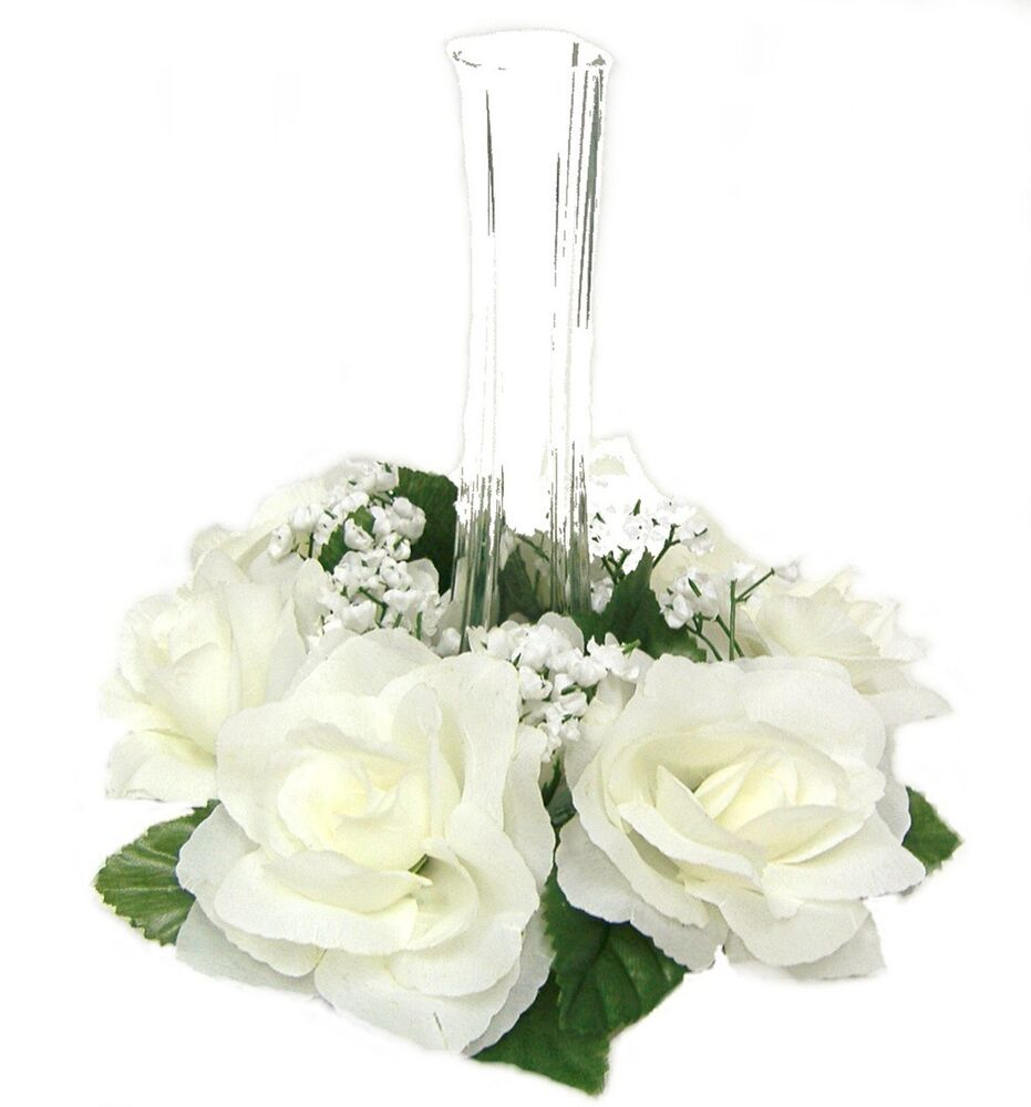 Candle rings ivory cream silk wedding flowers