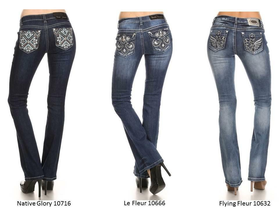 Ladies Bling Jeans Boot Cut Designer Rhinestone Denim Couture Native Fleur Pick | eBay