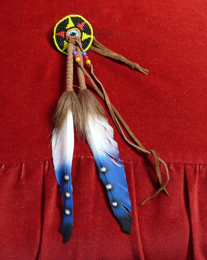 Blue feather Quality Native American Indian Squaw Hairclip ...