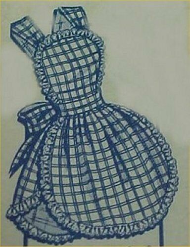 Vintage bib apron full size pattern ruffles 1950s style for Apron designs and kitchen apron styles