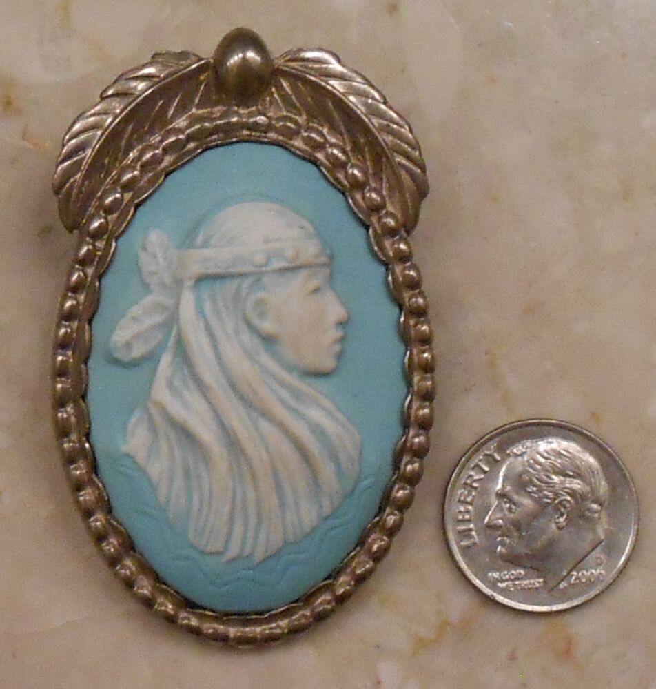 Vintage Carolyn Pollack Relios Indian Squaw Sterling Porcelain Cameo Pin Pendant Ebay