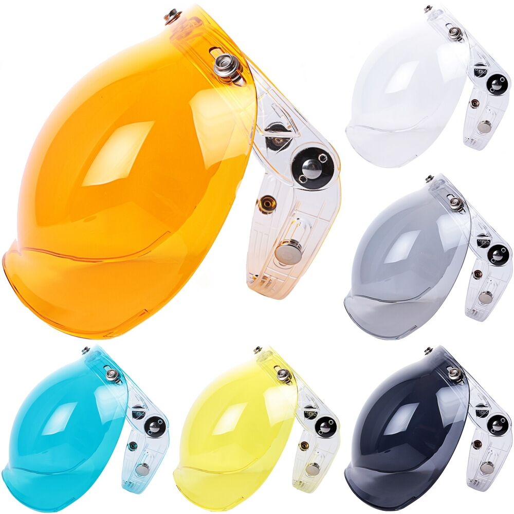 5a2b3634 Bubble Visor Flip Up Face Shield Lens for 3-Snap Motorcycle Open Face  Helmets | eBay