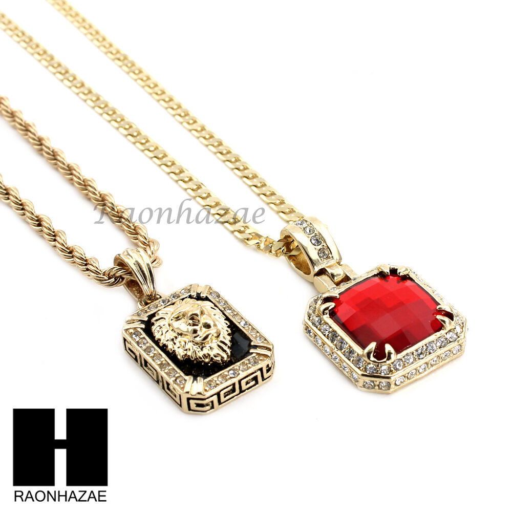 mens iced out red ruby lion pendant 24 30 rope cuban. Black Bedroom Furniture Sets. Home Design Ideas