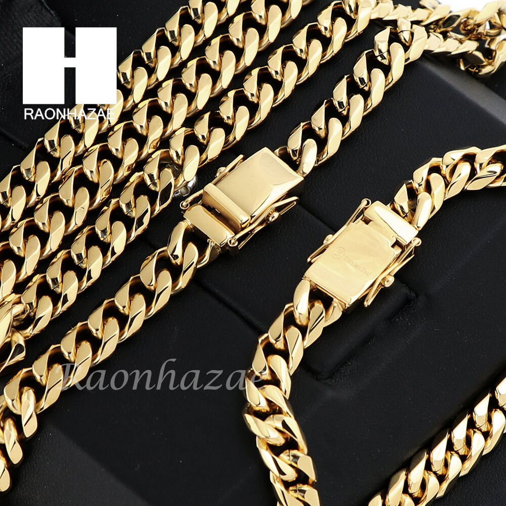 Stainless steel gold finish heavy mm miami cuban link