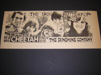 Iron Butterfly Sunshine Company Venice Beach Cheetah 1968 Concert Poster Type Ad