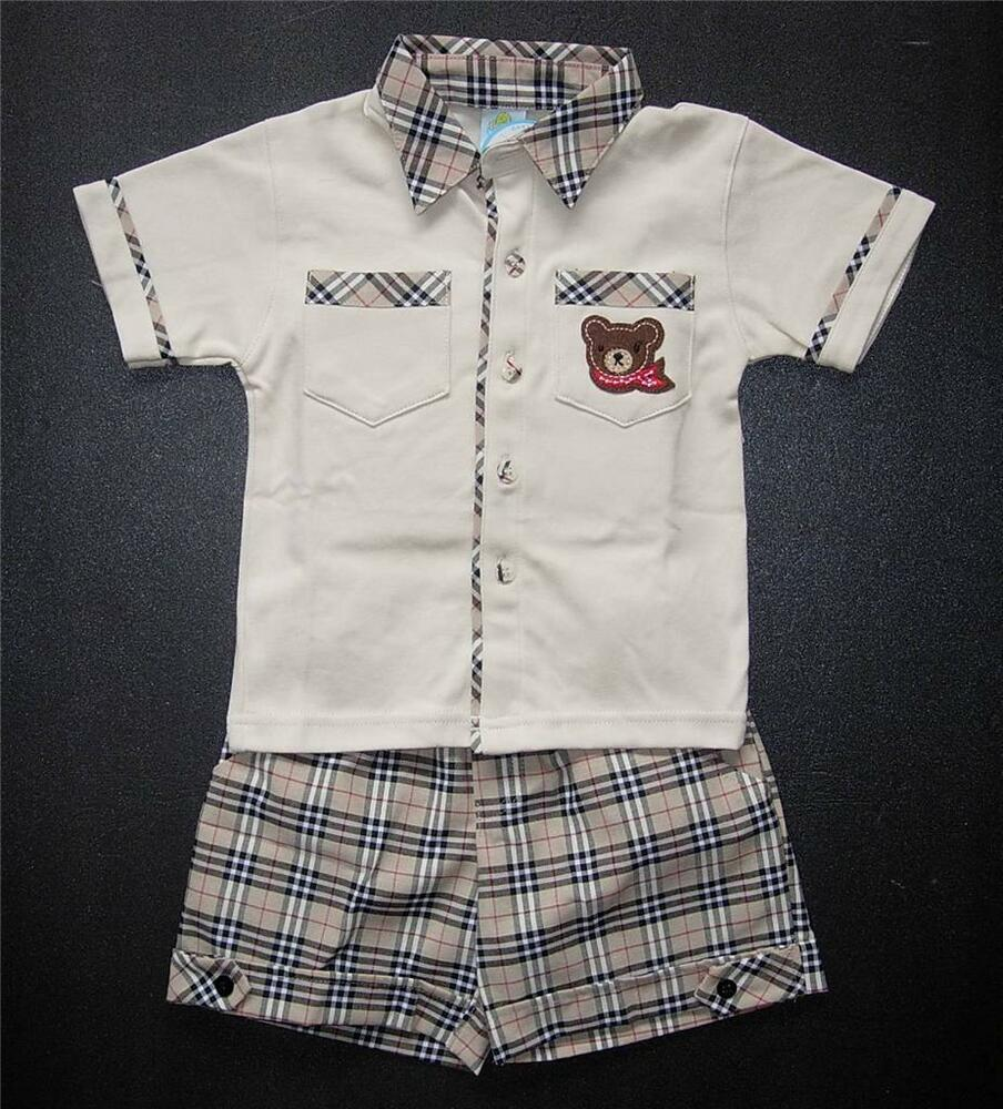 Baby boy outfit designer outfit suit top check shorts Baby clothing designers