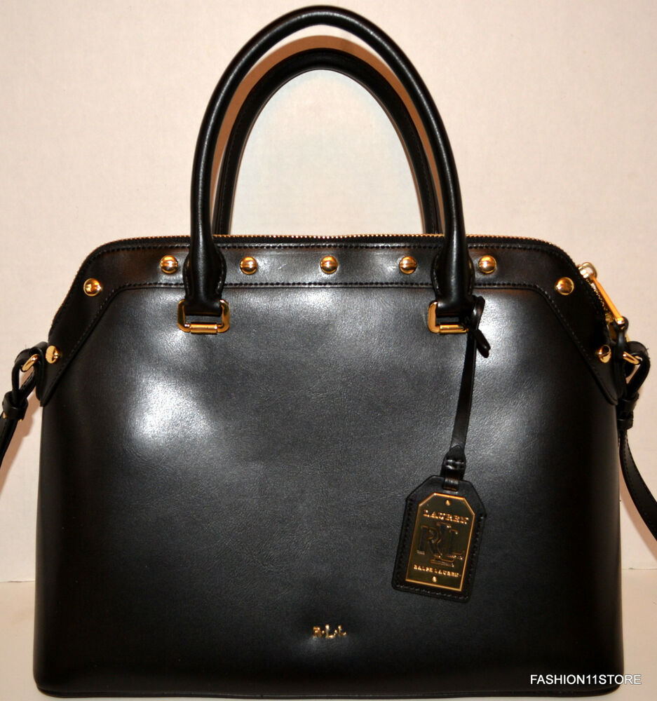 Ralph Lauren Tate Dome Satchel Laukku : Ralph lauren tate leather studded dome satchel black bag