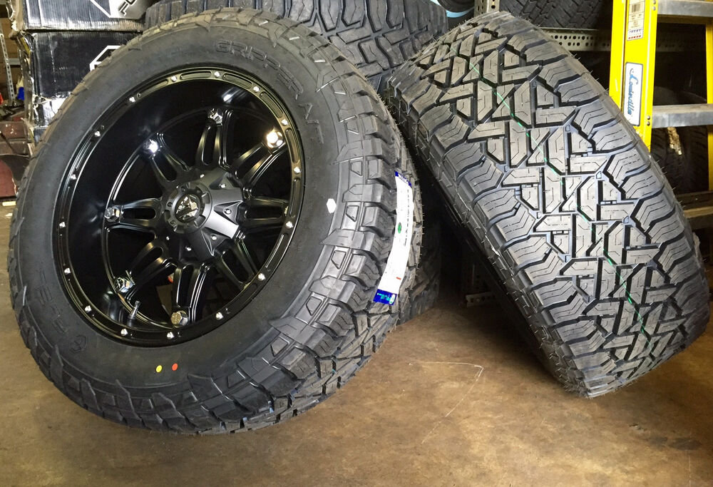"""Jeep Wrangler Rims And Tire Packages >> (5) 20x10 D531 Fuel Hostage Black Wheels 35"""" AT Tires 5x5 ..."""