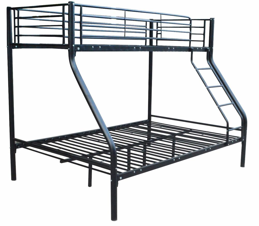 new triple children metal sleeper bunk bed frame 4ft6in double and 3ft single ebay. Black Bedroom Furniture Sets. Home Design Ideas