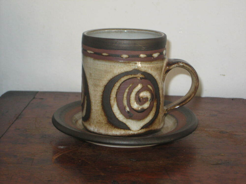 Funky Briglin Studio Pottery Coffee Cup Saucer Abstract