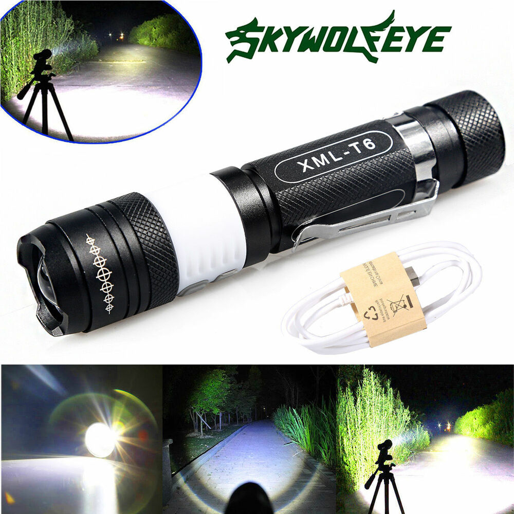 6000lumens cree xm l t6 led usb aufladbare taschenlampe torch zoom flashlight ebay. Black Bedroom Furniture Sets. Home Design Ideas