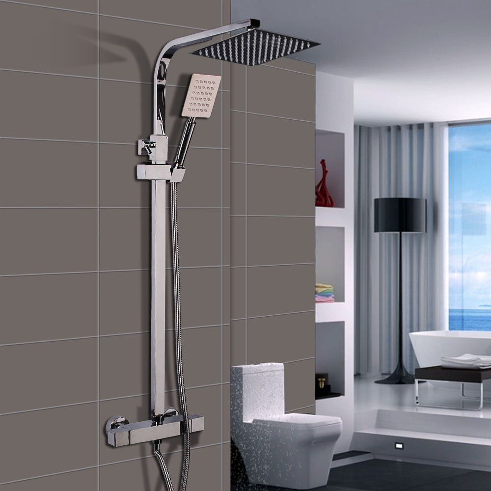 Square Twin Head Thermostatic Shower Mixer Chrome Bathroom