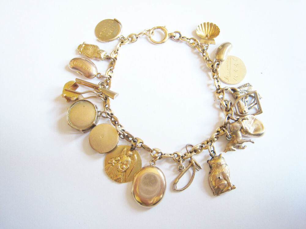 antique 18ct gold charm bracelet with 18 9ct charms ebay