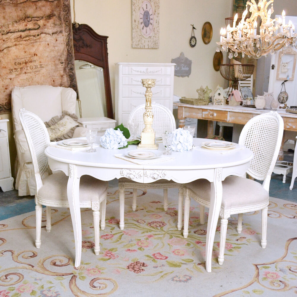 shabby cottage chic oval white dining table vintage french style white roses ebay. Black Bedroom Furniture Sets. Home Design Ideas