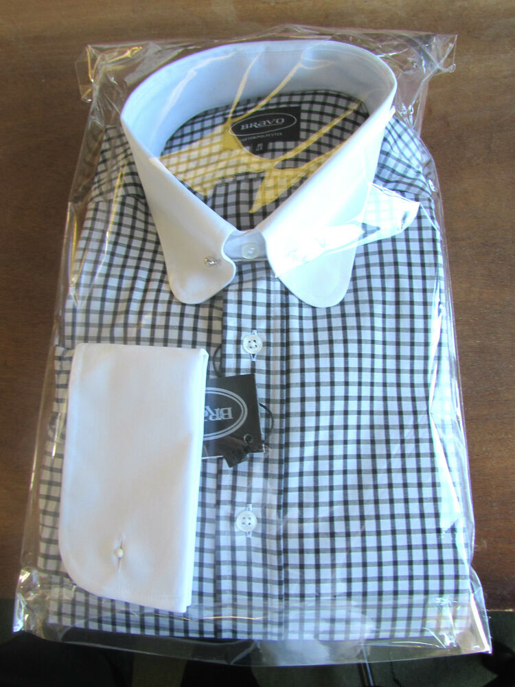 Mens Blk White Penny Collar Pin Shirt Double Cuff Check