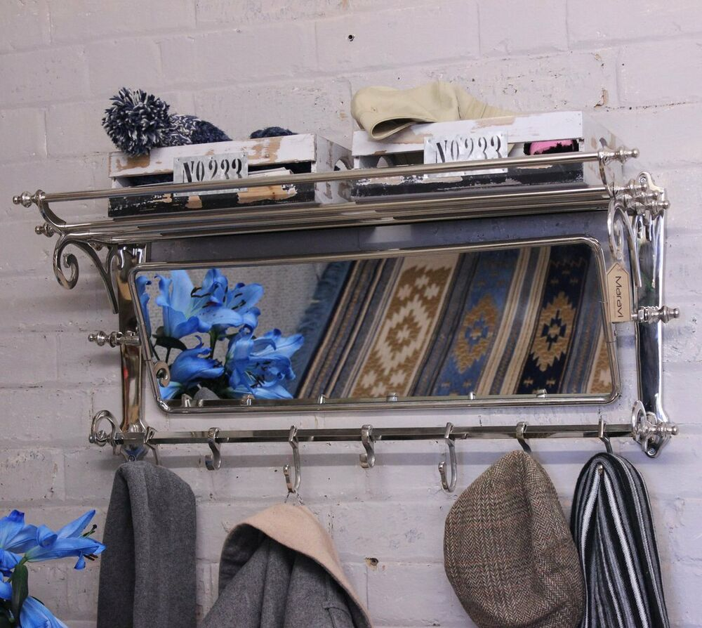 Lohit Train Rack With Mirror Coat Hanger Wall Mounted 7