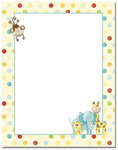 Baby Zoo Jungle Animal Baby Shower Stationery Letterhead