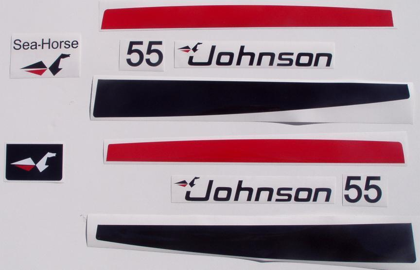 Johnson outboard 55 hp decal set ebay for 55 johnson outboard motor