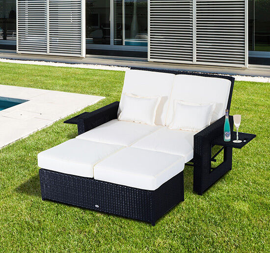 Patio rattan wicker chaise lounge furniture set sofa for Outdoor pool daybeds