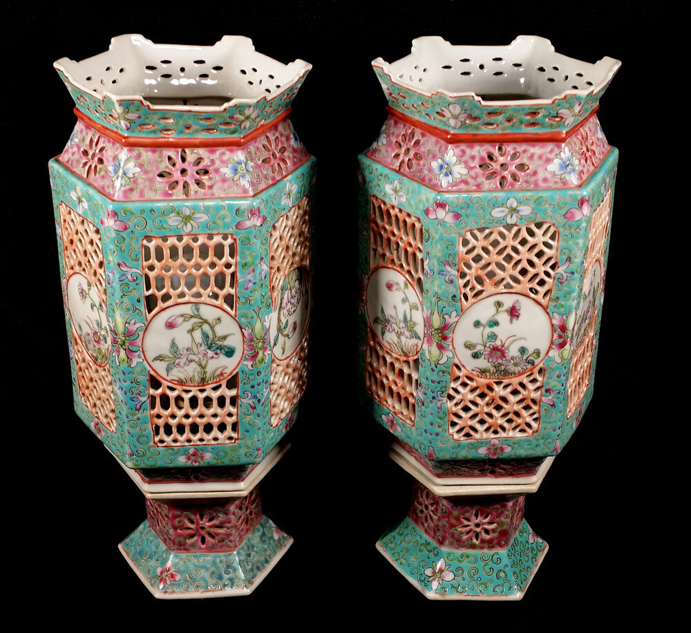 PAIR OLD VINTAGE CHINESE PORCELAIN FAMILLE ROSE ...