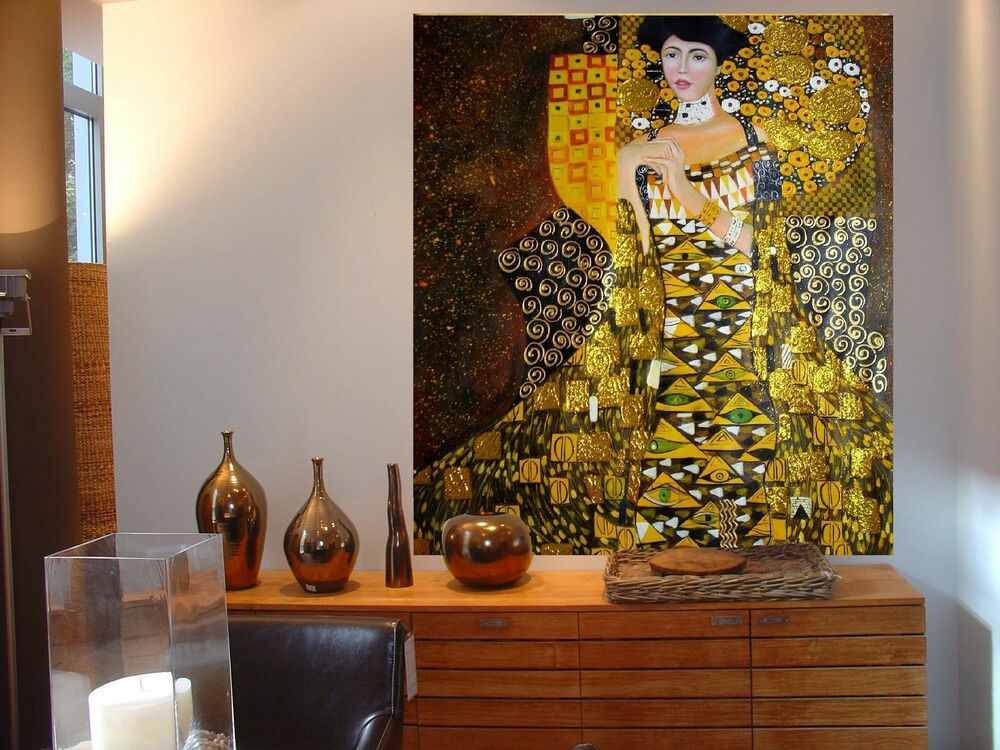 xxl gustav klimt jugendstil leinwand 105x90x5 canvas gem lde bild ikea malerei ebay. Black Bedroom Furniture Sets. Home Design Ideas