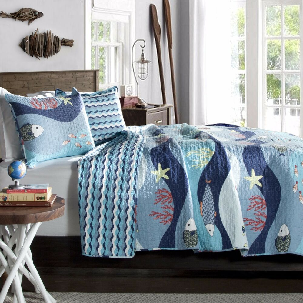 Tropical Fish, Beach House, Nautical, Full Queen Quilt