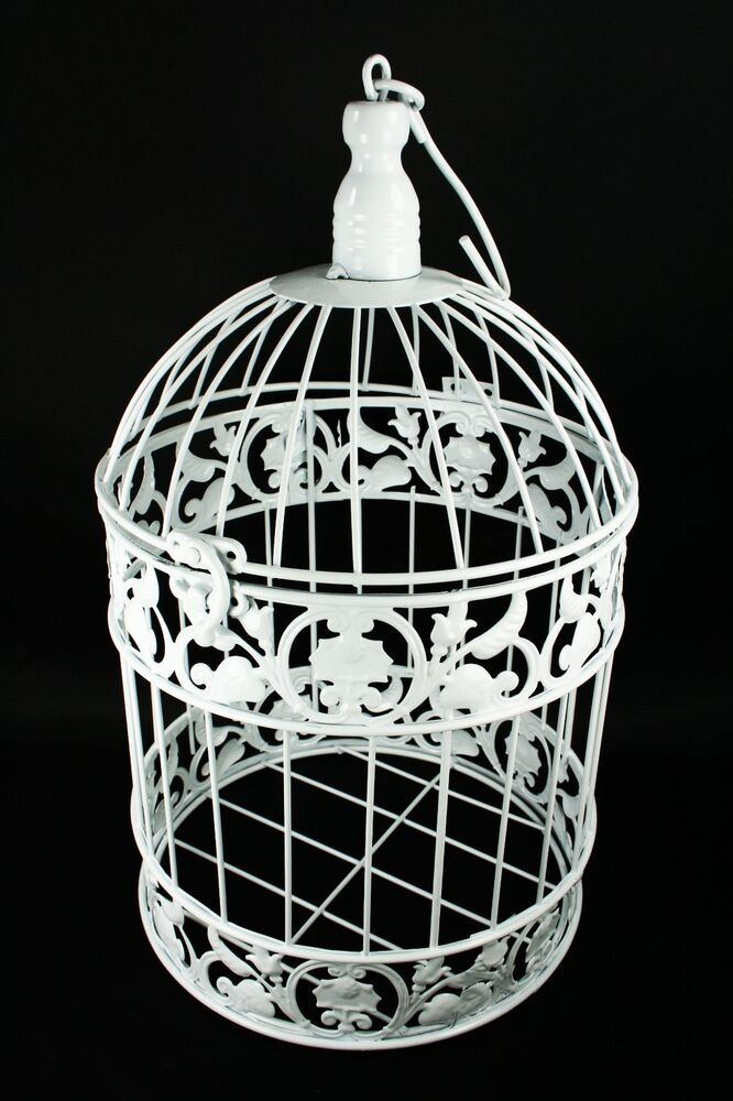 Decorative White Metal Bird Cage Wedding or Home Table