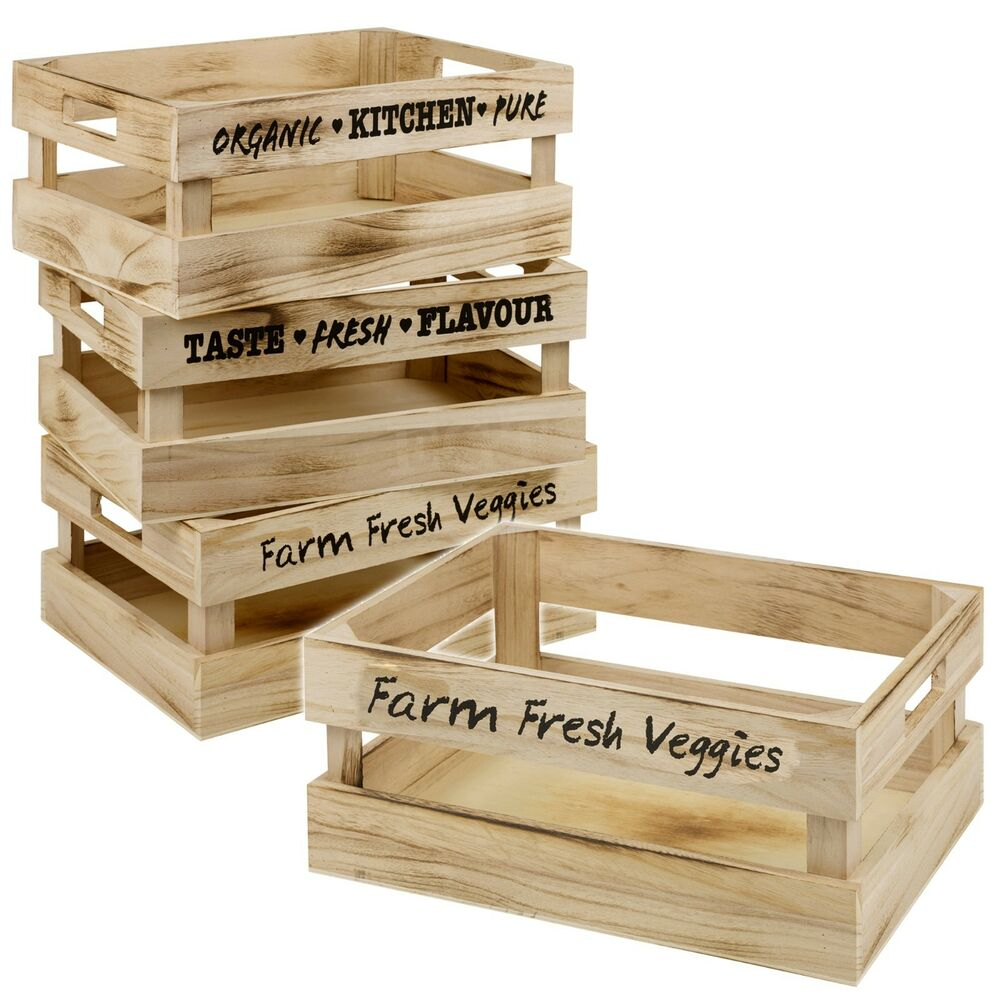 Set of 3 vintage wooden storage box crate carry handles for Buy wooden fruit crates