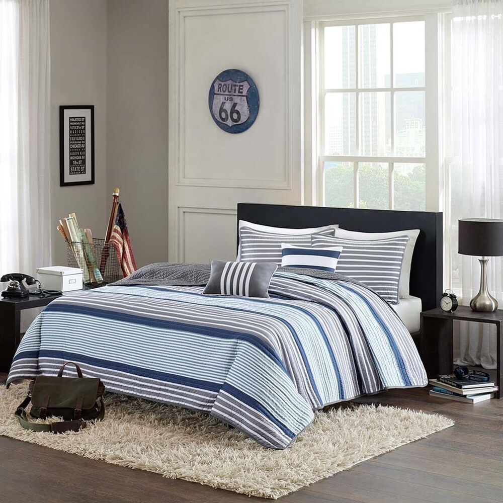 Blue White Gray Nautical Stripe Full Queen Quilt, Shams