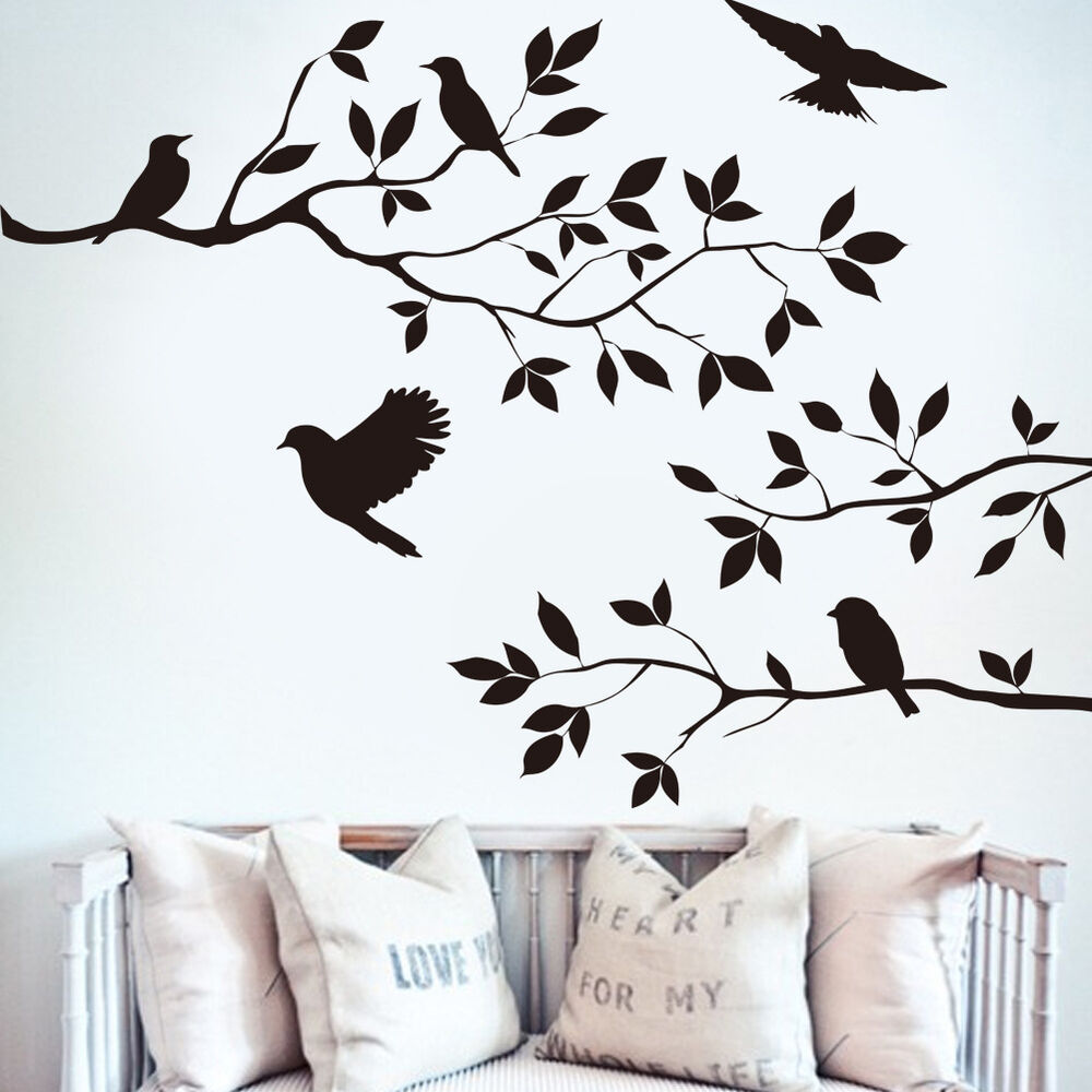 Diy black tree bird removable wall sticker vinyl decal for Bird home decor