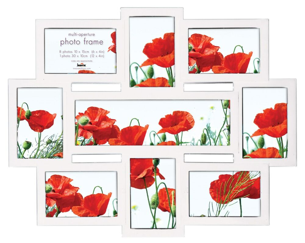 White Multi Aperture Photo Frame Picture Frame - Holds 9 Photos ...