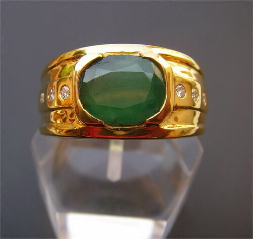 Men s 18K Solid Gold Natural Emerald & Diamonds Ring
