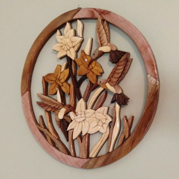 HUMMINGBIRDS HANDCRAFTED INTARSIA WOOD ART DECOR WALL