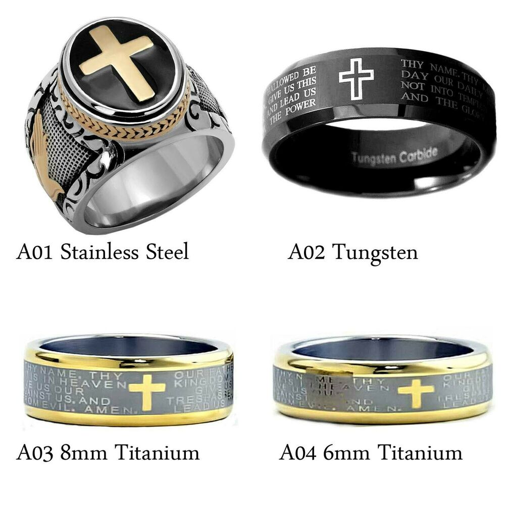 Men 39 s black silver stainless steel christian holy cross for Do pawn shops buy stainless steel jewelry