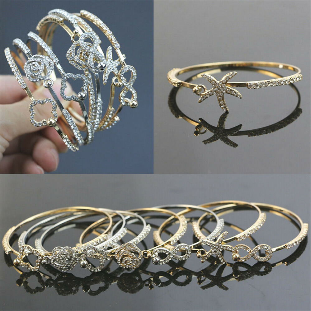 Women Lots Style Gold Silver Rhinestone Bangle Charm Cuff Bracelet Jewelry Gifts Ebay