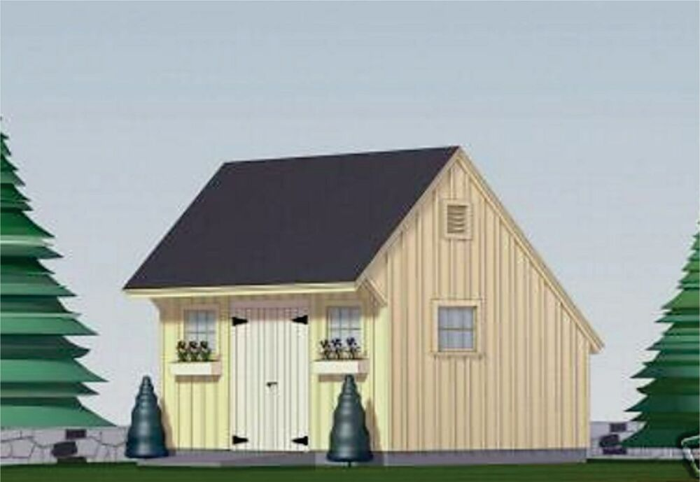 Shed plans blueprints 12 ft x 16 ft saltbox style ebay for Saltbox barn plans