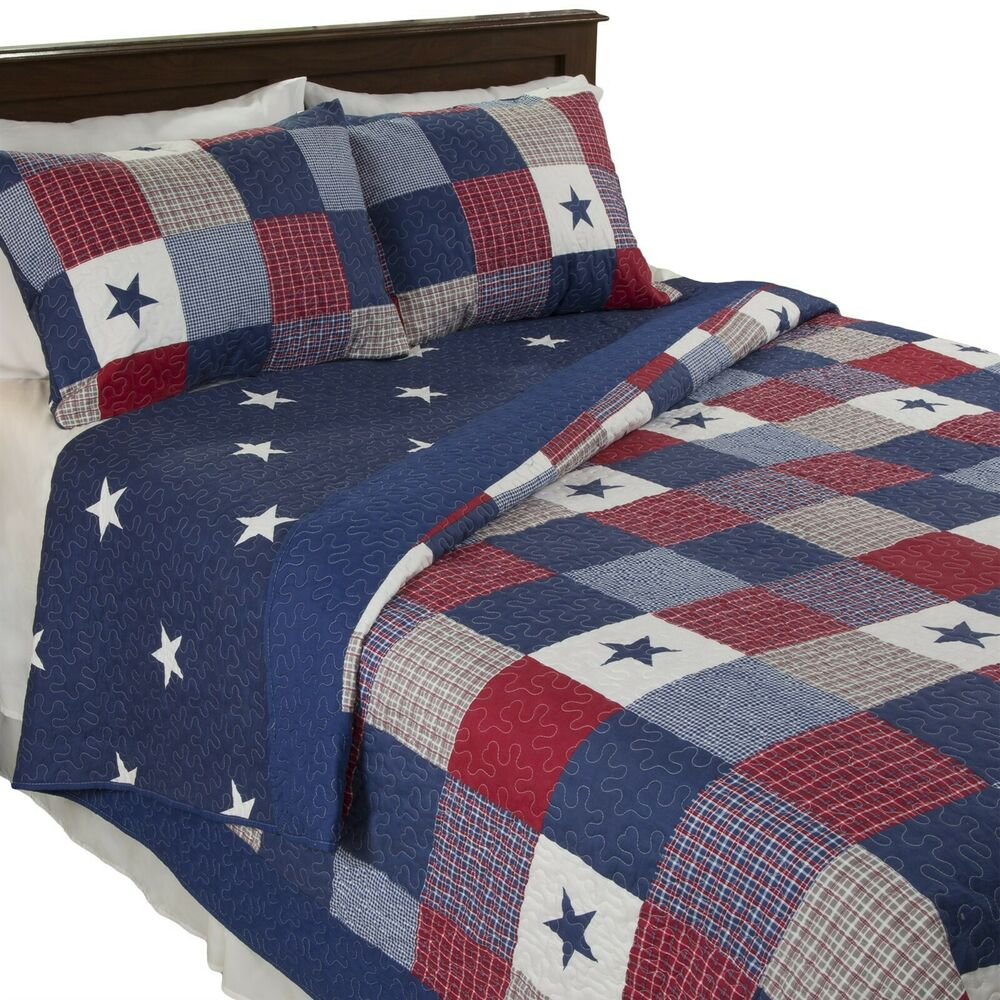 All American Quilted Blanket Red White Blue Bedspread Twin