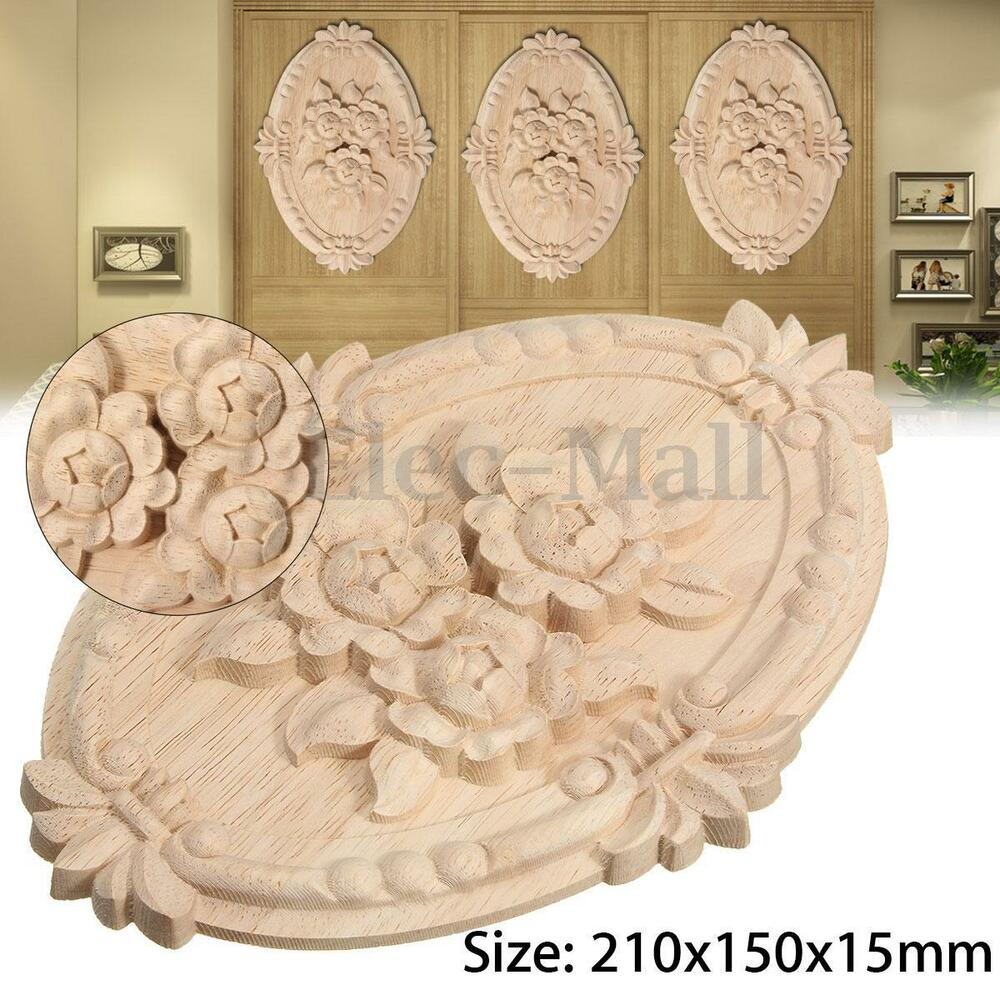 Unpainted wood carved corner onlay applique furniture for Applique furniture decoration