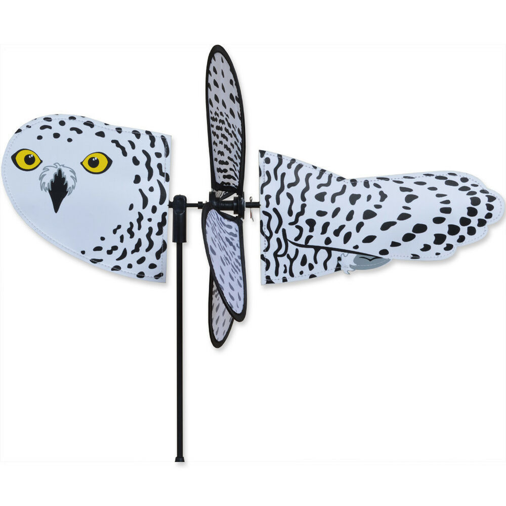 Snowy owl petite garden stake wind spinner by premier for Garden spinners premier designs