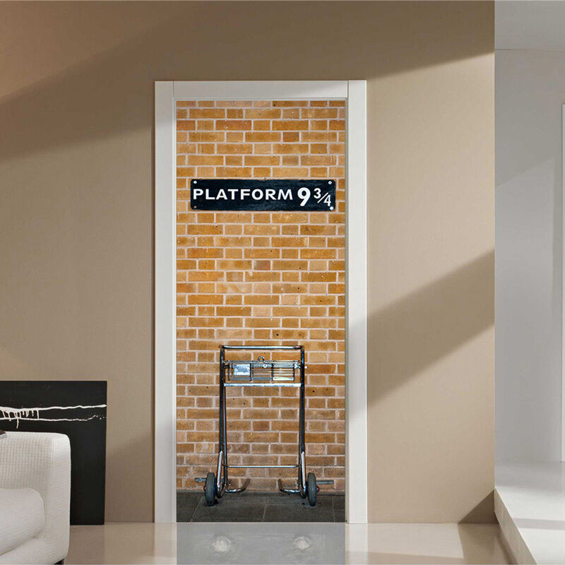 Harry potter platform 9 3 4 door sticker mural 30x79 for Door mural stickers