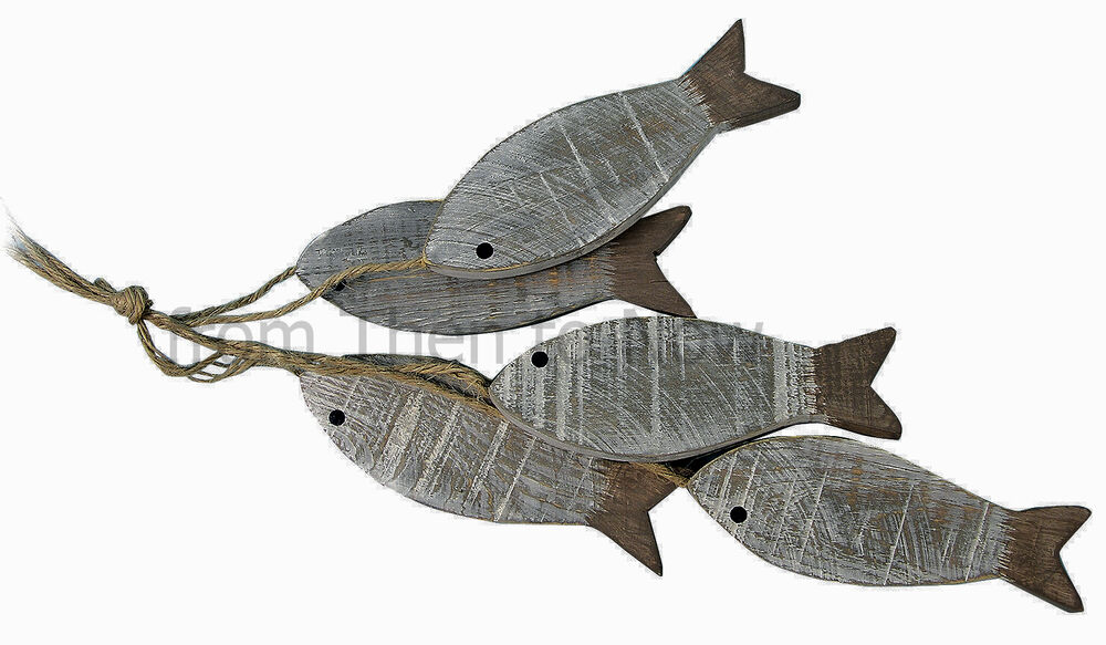 Nautical Bunch 5 Natural Hanging Wooden Fish Decoration
