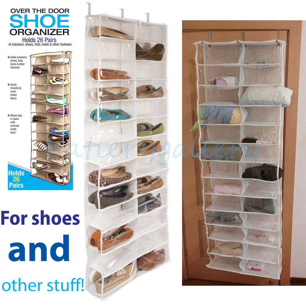 26 pocket over the door shoe organizer rack hanging storage space saver hanger ebay. Black Bedroom Furniture Sets. Home Design Ideas