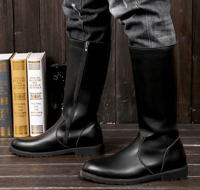 s boot side zipper motorcycle knee high army