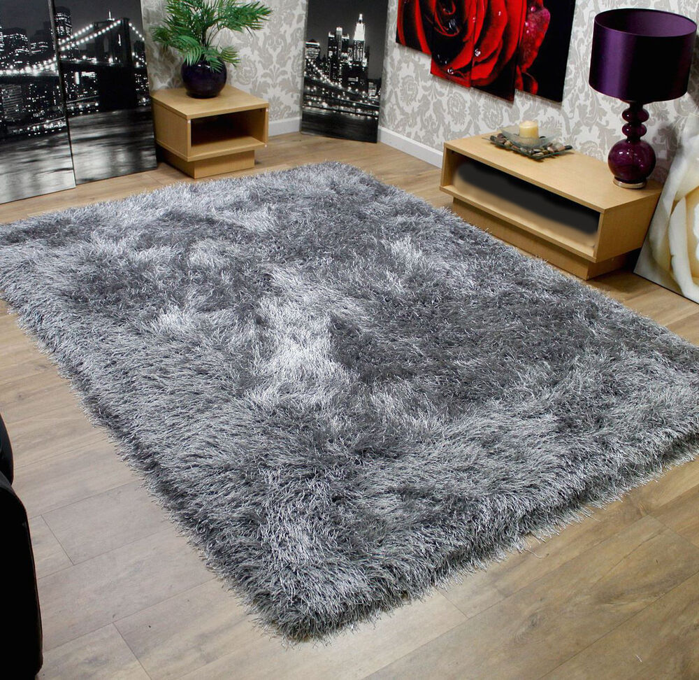 Modern Shaggy Very Thick 9cm Soft Touch Silver Grey Rug