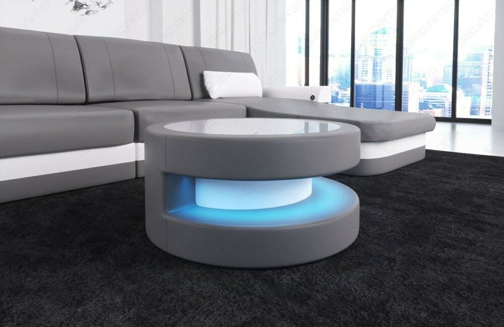 runder couchtisch modena design wohnzimmertisch led beleuchtung leder farbwahl ebay. Black Bedroom Furniture Sets. Home Design Ideas