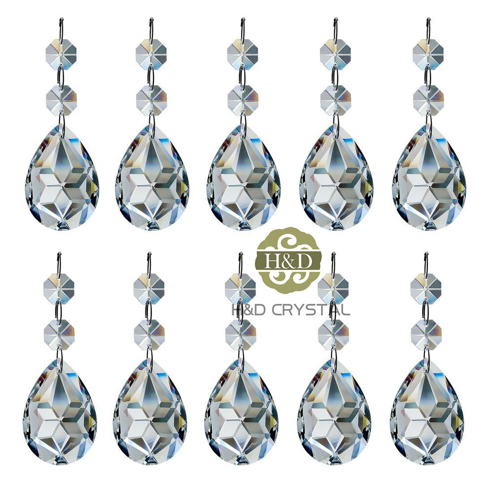 10 clear crystal faceted prism with octagon beads glass chandelier drop pendants ebay - Chandelier glass beads ...