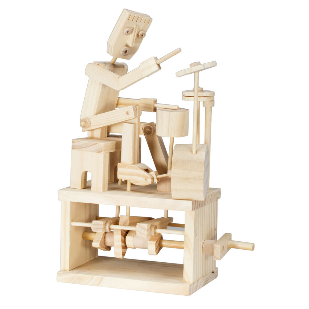 timberkits drummer wooden moving model kit self assembly construction toy gift 680569818560 ebay. Black Bedroom Furniture Sets. Home Design Ideas