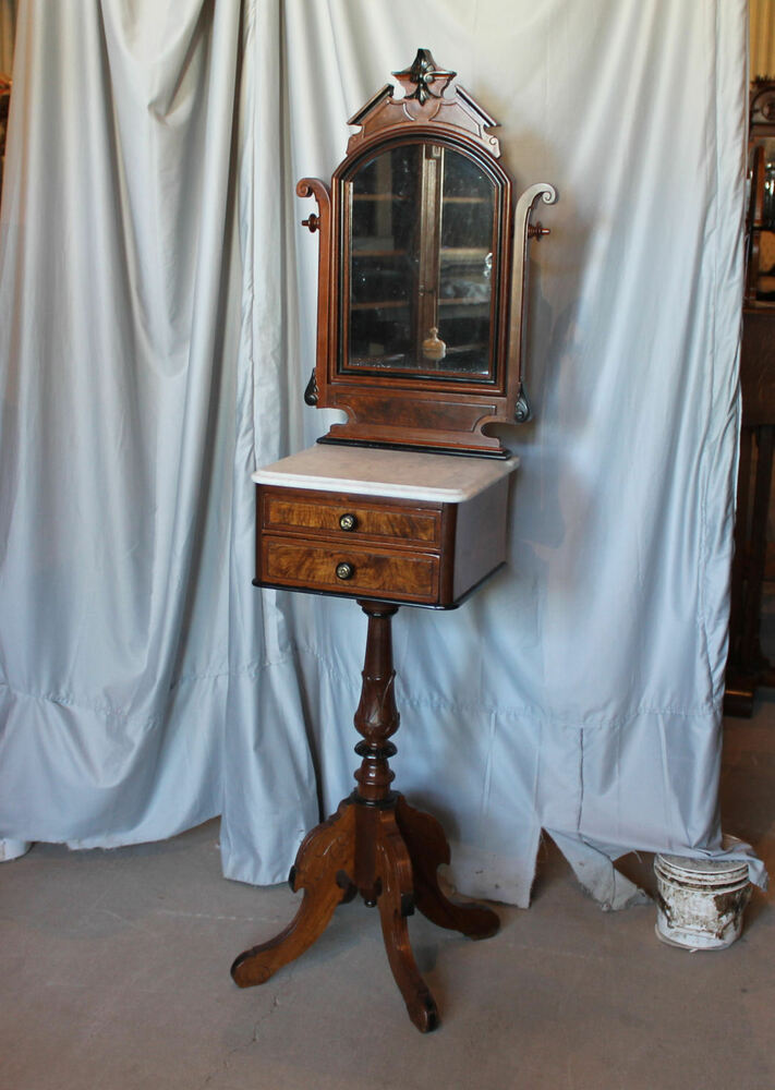 Victorian Walnut Shaving Stand With Marble Top And Mirror
